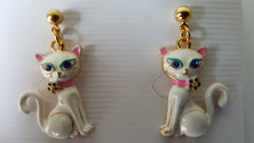 Cat earrings, white cat, posts