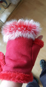 Gloves, fingerless, red