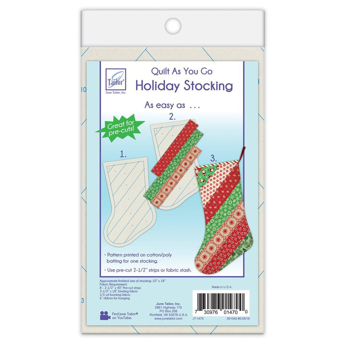 Quilt As You Go - Holiday Stockings - Stripes Stocking