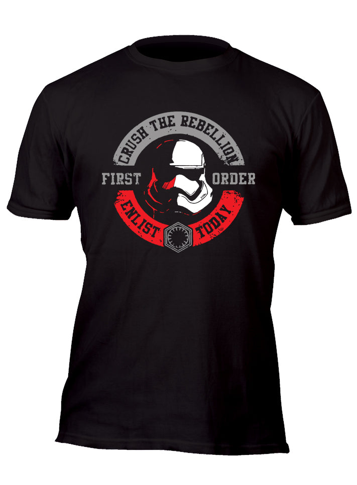 Crush the Rebellion Enlist Today First Order Stormtrooper Original w/ Silver Custom Movie T-Shirt