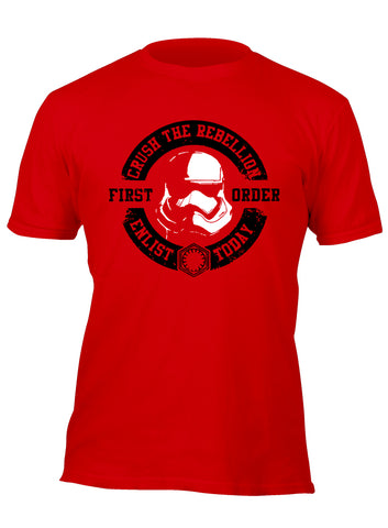 Crush the Rebellion Enlist Today First Order Stormtrooper Red/Black Custom Movie T-Shirt