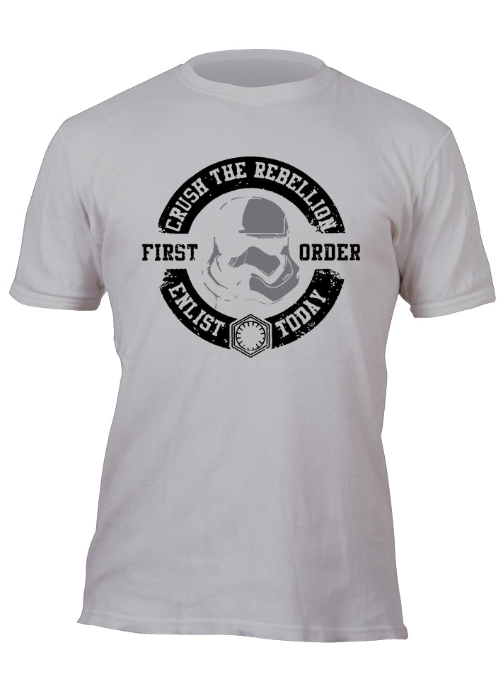 Crush the Rebellion Enlist Today First Order Stormtrooper Silver Custom Movie T-Shirt