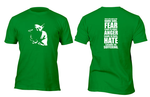 Yoda Silhouette Fear is the Path to the Darkside Custom Movie T-Shirt