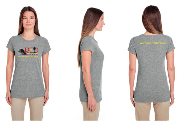 Ladies RED Podcast Training Race Performance Gray Short Sleeve Shirt