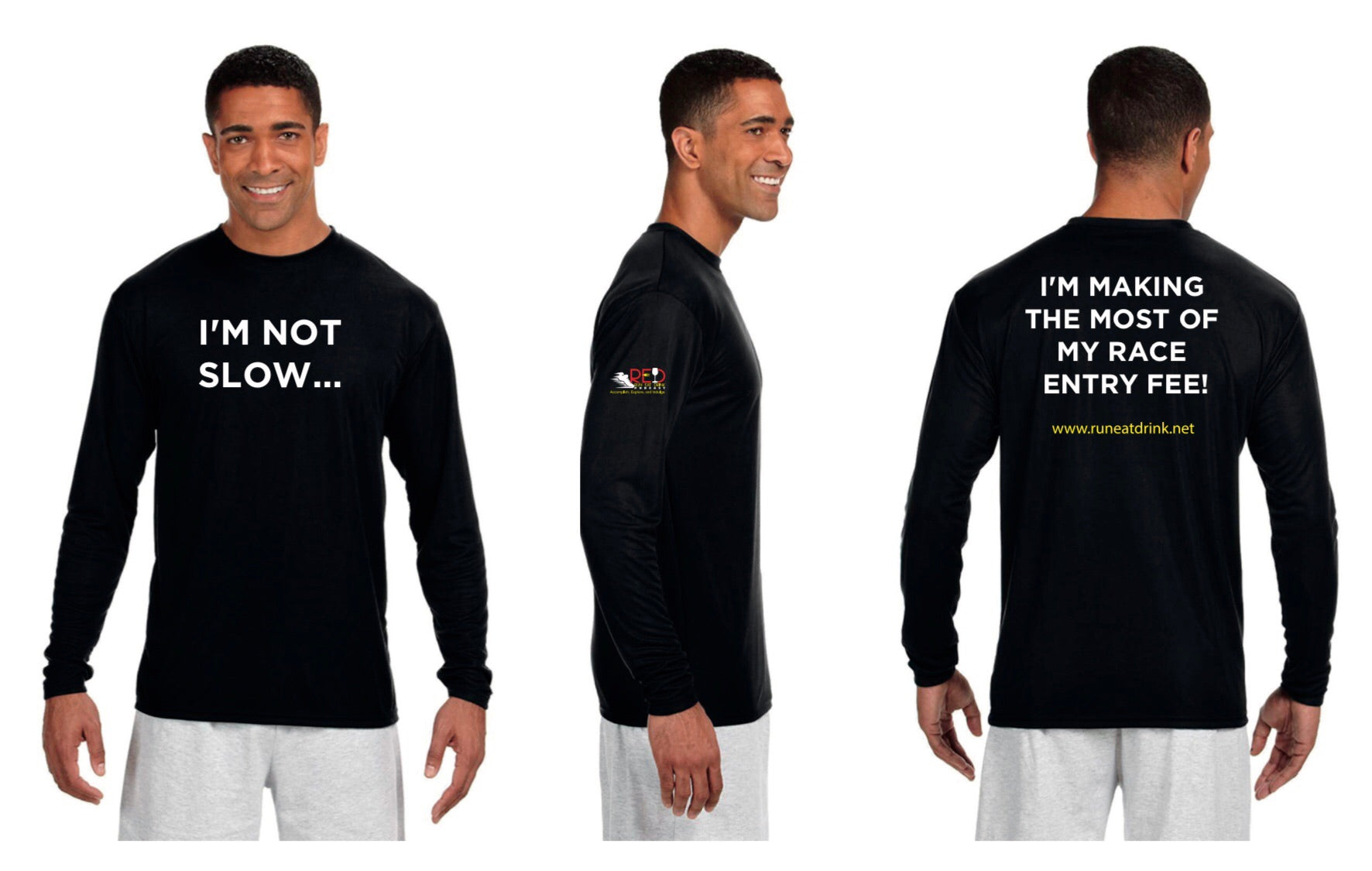 Limited Unisex RED Podcast Race Performance Marathon Black Long Sleeve Shirt (Men's Cut)