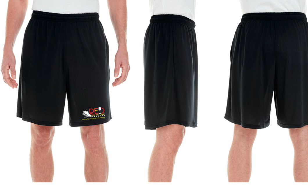 Limited Unisex RED Podcast Race Performance Marathon Black Shorts (Men's Cut)