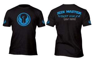 Personalized Jedi Master Aurebesh Baseball Style Jersey Custom Movie T-Shirt