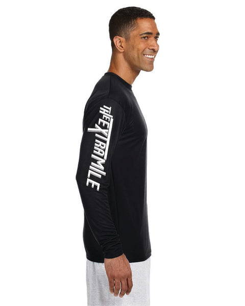Men's Extra Mile Performance Marathon Black Long Sleeve Shirt