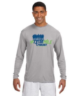 Men's Extra Mile Performance Marathon Silver Long Sleeve Shirt