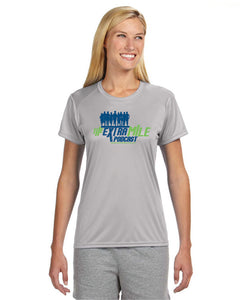 Women's Extra Mile Performance Marathon Silver Short Sleeve Shirt