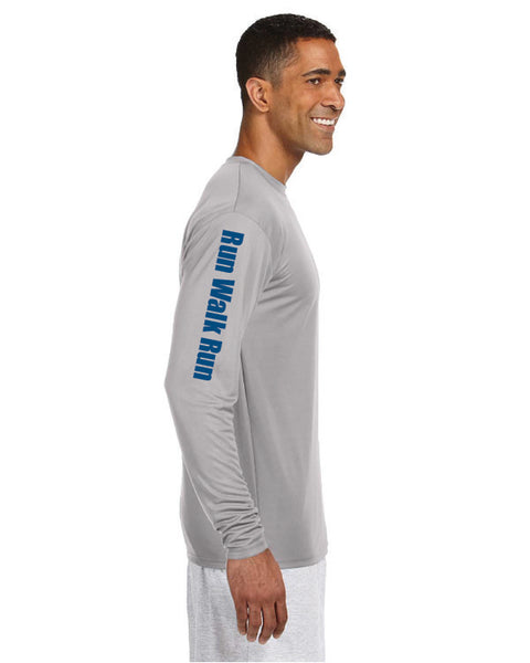 Limited Men's Galloway Edition Extra Mile Run Walk Run Performance Marathon Silver Long Sleeve Shirt