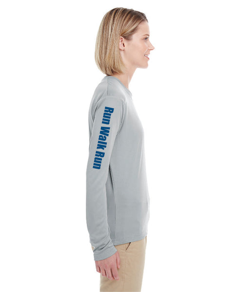 Limited Women's Galloway Edition Extra Mile Run Walk Run Performance Marathon Silver Long Sleeve Shirt