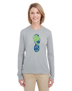 Women's Extra Mile Footprint Performance Marathon Silver Long Sleeve Shirt