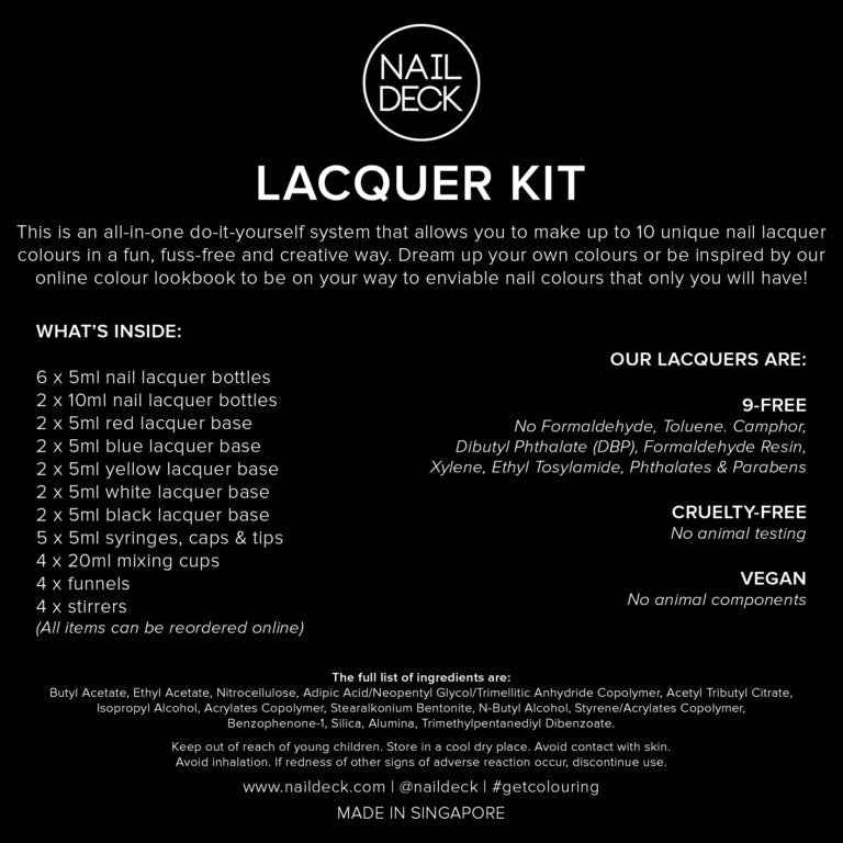 Nail Lacquer Kit by Nail Deck contents