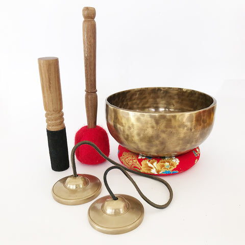Throat Chakra Singing Bowl and Tingsha Bell Set