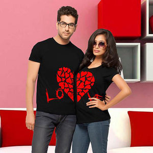 Enjoy the Spirit Couple Half Red Heart T Shirts