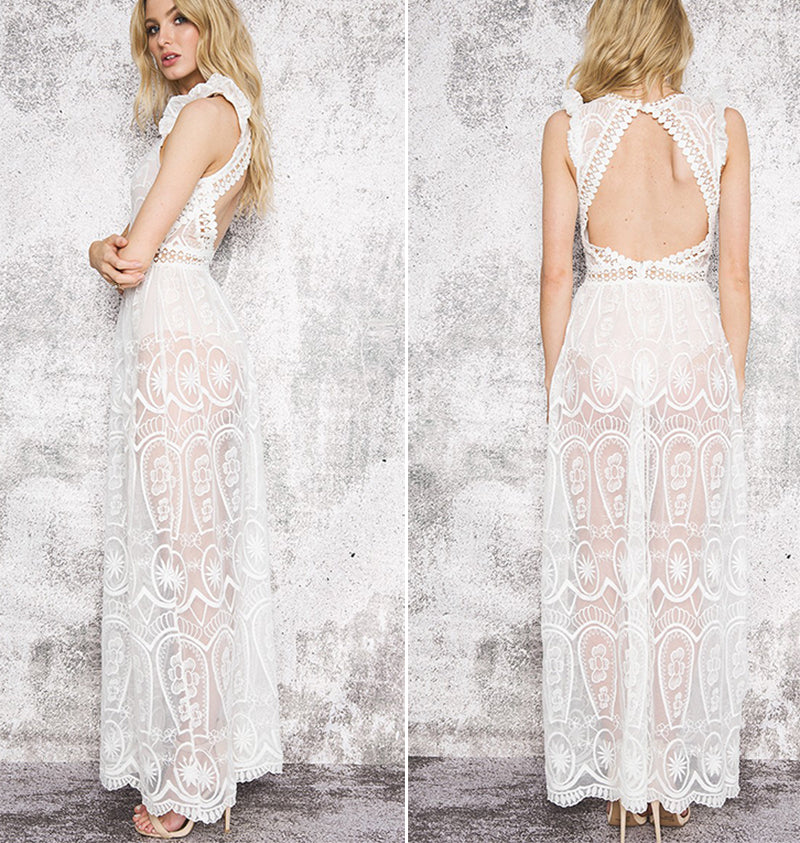 White Lace Long  Maxi Dress