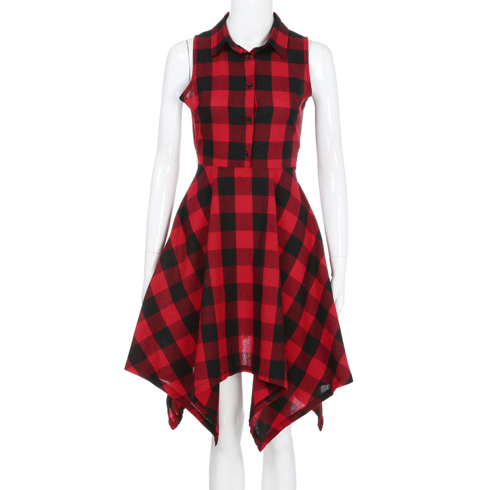 Plaid Sleeveless Dress