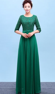 Long Chiffon and Lace Ladies Bridesmaid Dress