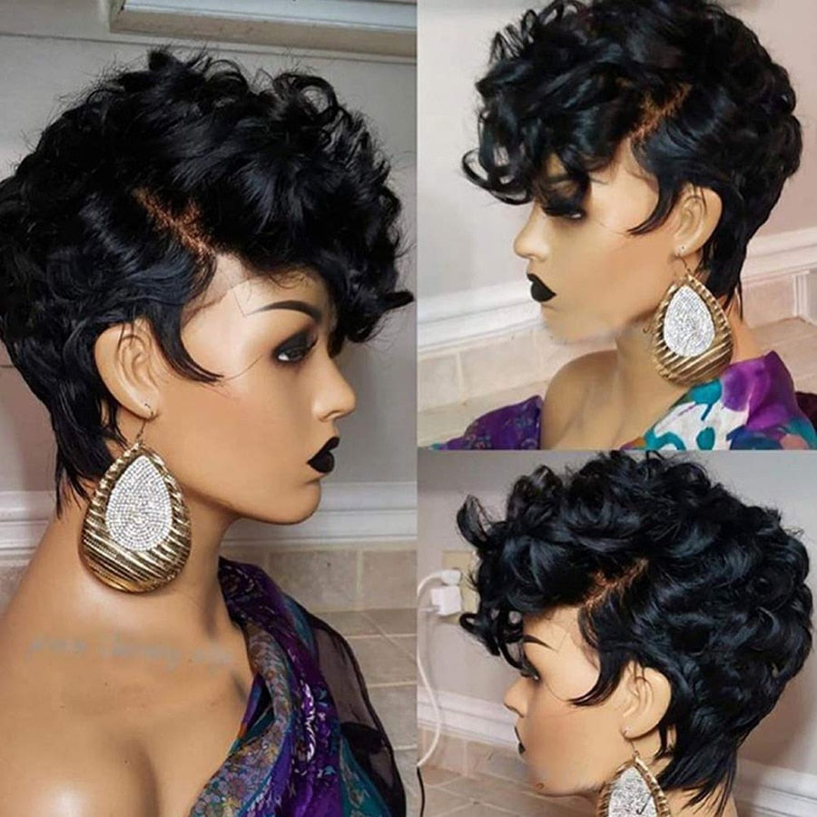 13x4 Short Human Hair Wigs Pixie Cut