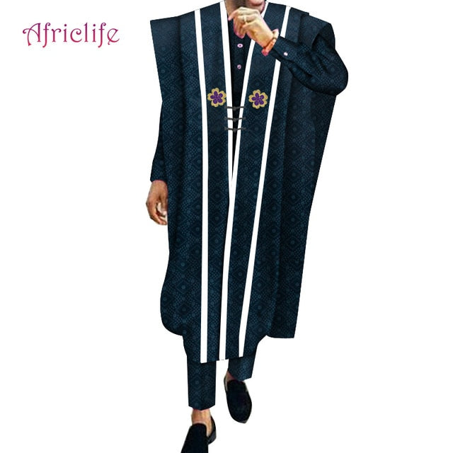 Robe,Shirt and Pant 3 Pieces Set Cotton African Casual Pant Suit