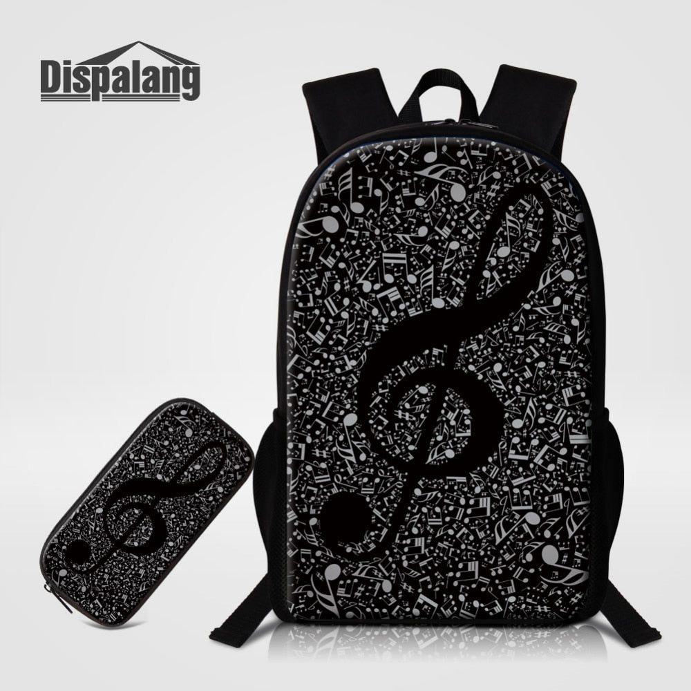 2pcs/set Musical Note Print Backpacks