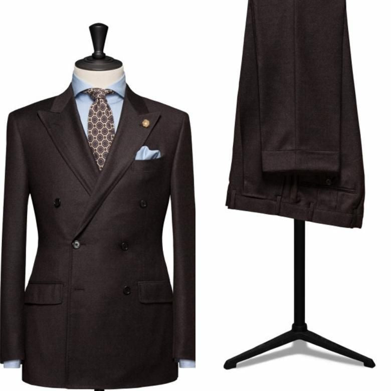(Jacket+Pant+Tie)Brown Peaked Lapel Men Suit