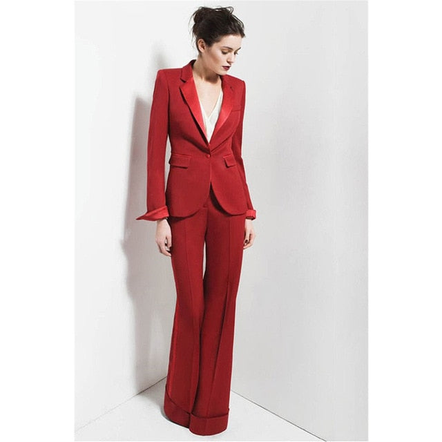 Red One Buttom 2 Piece Sets Womens Business Suits