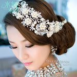 Imported alloy plated pearl crystal bridal headdress