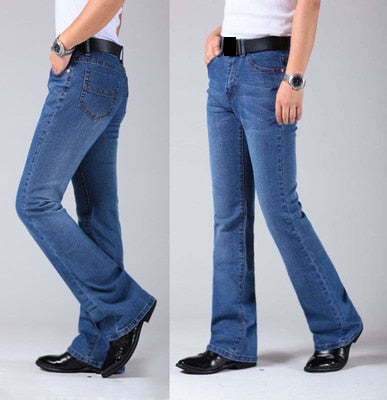 Mens Flared Leg Jeans Trousers