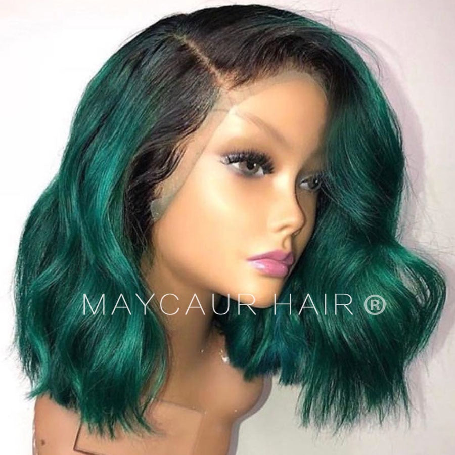 Two Tones Black Ombre Green Synthetic Lace Front Wigs