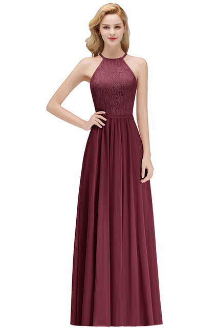 Halter Neck Lace Prom Dresses