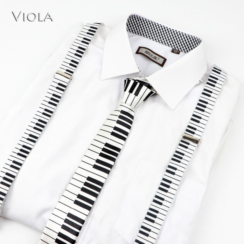 Mens Music Piano Printed Suspenders Tie Bowtie Set