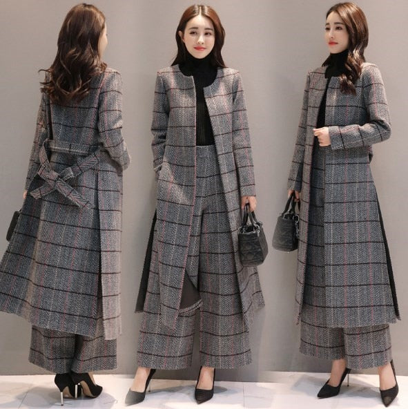 Womens Casual Pantsuit Office Lady Plaid Two-piece Pants Suits