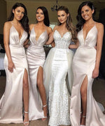 Deep V Neck Mermaid Bridemaid Dresses 2019