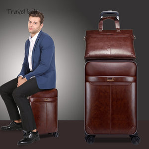 Retro PU Leather 16/20/24 inch Rolling Luggage Sets