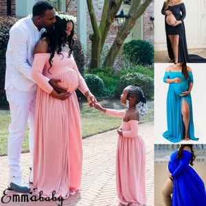 Maternity-child Matching Dress  V-neck Off-shoulder Women Maxi Dress Gown Mother Daughter