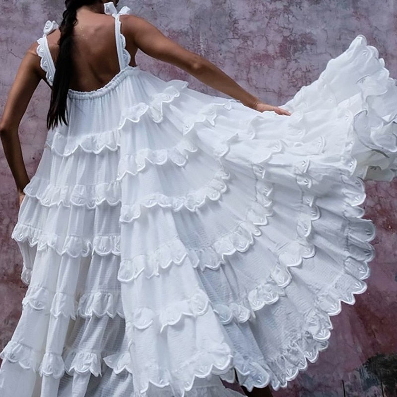 Elegant Patchwork Ruffles White Dress