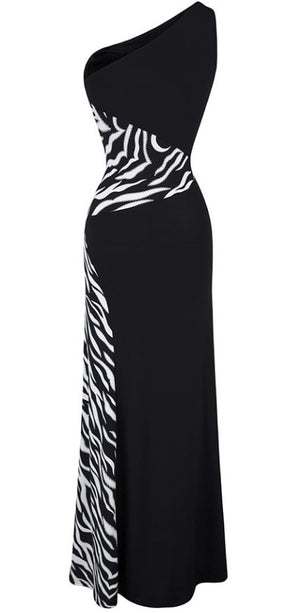 One Shoulder Zebra Stitching Evening Dress