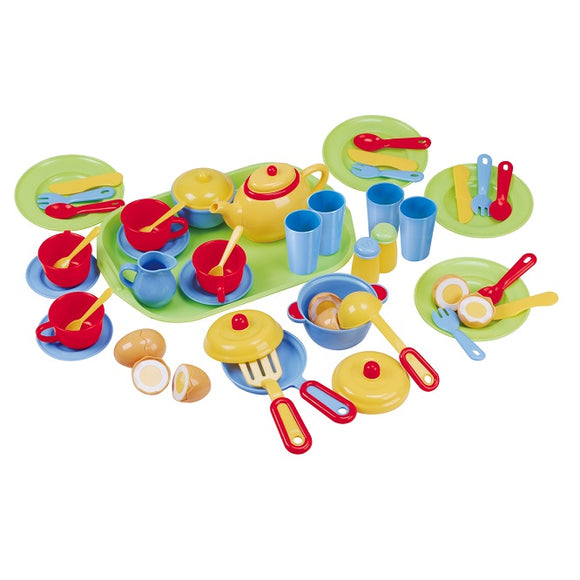 PRETEND & PLAY TEA SET w CUTLERY (46 Pcs)