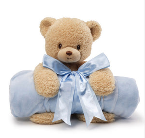 """Gund Baby Blanket Set, Teddi Bear & Blue"""