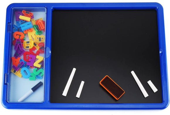 EduKid Toys MAGNETIC CREATIVITY BOARD 2-N-1 w Storage (White Board/Chalk Board w Supplies)