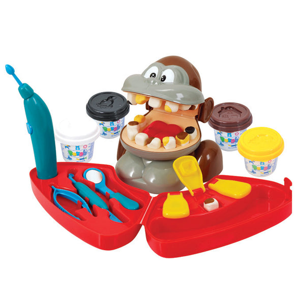 PlayGo DOUGH MONKEY DENTIST (4 Colors of Play Dough Included)