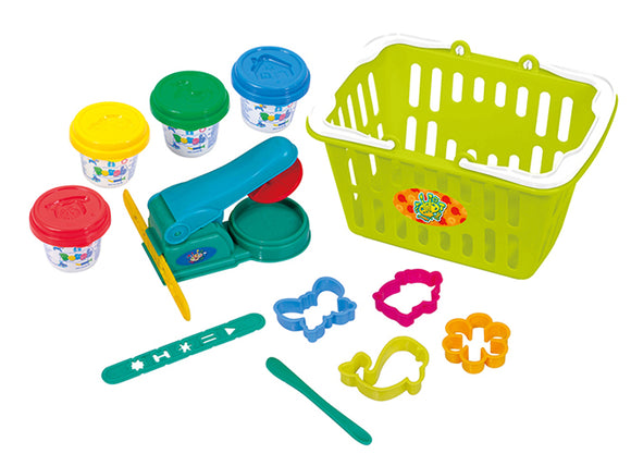 PLAY DOUGH PLAYSET IN BASKET (4 Colors of Play Dough Included)