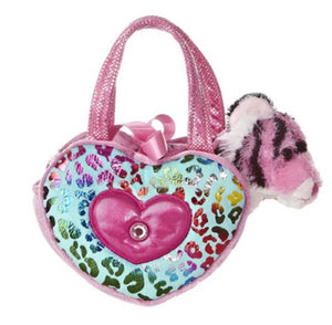 Aurora Pink Shimmery Heart Shaped Pet Carrier with tiger