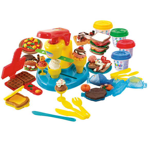 PLAY DOUGH FOOD COURT (4 Colors of Play Dough Included)