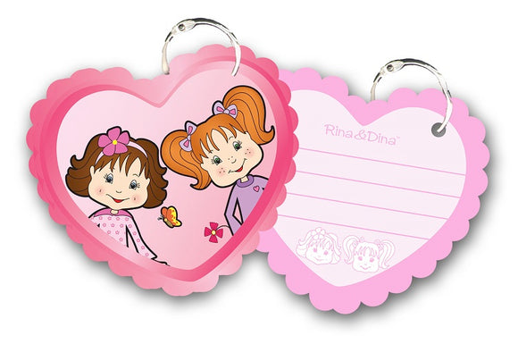 Rina & Dina HEART SHAPED SHEETS ON A KEY RING (50 pgs)