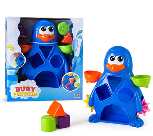 Busy Penguin Baby Bath Toy - Shape Sorter & Water Wheel Action Bath-time Toy