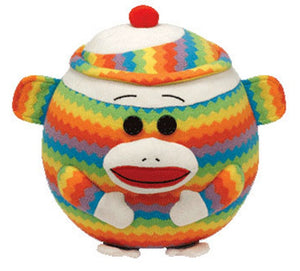 Ty Beanie Ballz Sock Monkey Rainbow - Large