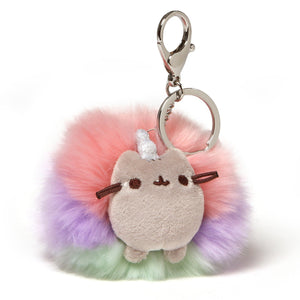 "Gund Pusheen Deluxe Rainbow Unicorn Plush Poof Keychain, 4"" , Multicolor"